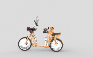 junior side view electric folding cargo bike inventor Johan Neerman