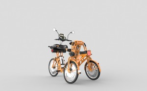 junior orange folding electric cargo bike for kids