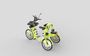 junior yellow electric folding cargo bike for kids