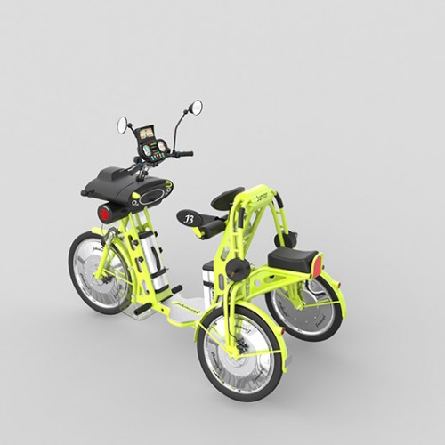 junior yellow electric folding cargo bike for kids
